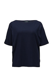 Stretch Cotton Boatneck Top - NAVY