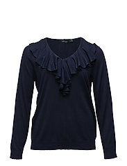 Ruffled V-Neck Sweater - RL NAVY