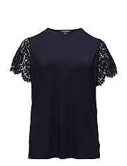 Lace-Sleeve T-Shirt - RL NAVY