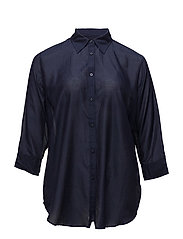 SILK COTTON VOILE-3/4 SLV SHIRT - RL NAVY