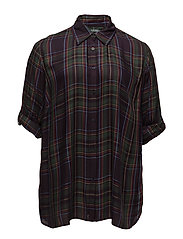 Y/D COUNTRY PLAID-3/4 SLV ROLL SHIR - PURPLE MULTI