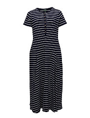 LTWT STR PM MDL JRS-MIDI DRESS - NAVY/WHITE