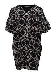 EMBR MOSAIC TILE-ELB SLV VNCK DRESS - POLO BLACK