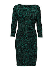 Ruched Floral Jersey Dress - BLACK/GREEN/MULTI