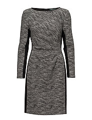 Two-Tone Knit Dress - BLACK/WHITE/BLACK