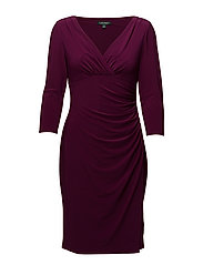 Ruched Jersey V-Neck Dress - CHATEAU ROUGE