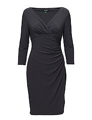 Ruched Jersey V-Neck Dress - GRAPHITE