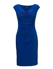 Ruched Cowlneck Jersey Dress - GALLERY BLUE