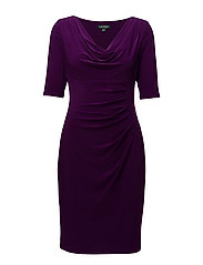 Ruched Cowlneck Jersey Dress - HADDON VIOLET