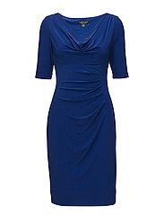 Ruched Cowlneck Jersey Dress - LAZULI