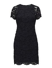 Lace Short-Sleeve Dress - NAVY