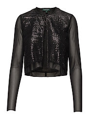 Sequined-Overlay Open Cardigan - BLACK/BLACK/BLACK