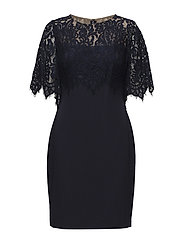 Scalloped Lace-Overlay Dress - NAVY/LIGHTHOUSE N
