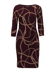 Chain Link Print Jersey Dress - RIOJA/BROWN MULTI