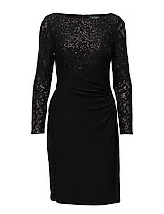 Sequined Ruched Jersey Dress - BLACK/BLACK SQN/B