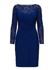 Sequin Lace-Trim Jersey Dress - LX SAPPHIRE/LX SA