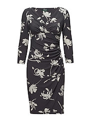 Ruched Floral Jersey Dress - SLATE/COLONIAL CR
