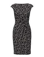Print Ruched Jersey Dress - BLACK/COLONIAL CR