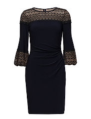 Lace-Trim Ruched Jersey Dress - LIGHTHOUSE NAVY/B