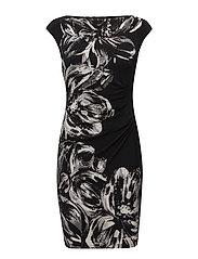 Floral Ruched Jersey Dress - GREY/BLACK/MULTI