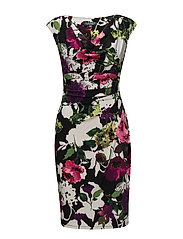 Floral Jersey Cowlneck Dress - PLUM/LIME/MULTI