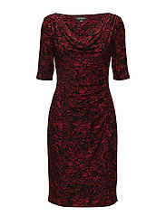 Floral Ruched Jersey Dress - BLACK/RED/MULTI