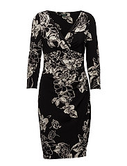 Ruched Floral Jersey Dress - BLACK/GREY/MULTI
