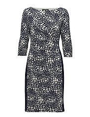 Two-Tone Jersey Dress - LH NVY/COL CRM/LH