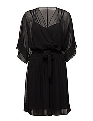 Georgette Surplice Dress - BLACK
