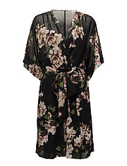 Floral V-Neck Dress - BLK/CREAM/MULTI