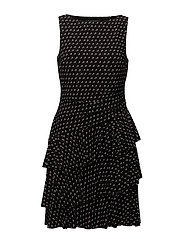 Polka-Dot Ruffled Jersey Dress - BLACK/COLONIAL CR