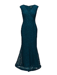 Floral Lace Gown - FRENCH TEAL/FRENC