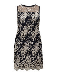 Floral-Embroidered Mesh Dress - NAVY/IVORY/GOLD M