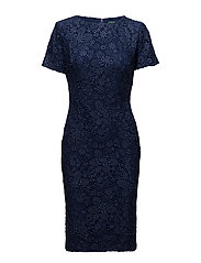 Lace Short-Sleeve Dress - INDIGO