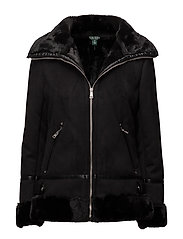 Faux-Shearling Moto Jacket - BLACK