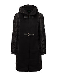 SOFT NYLN W DF WOOL-DOWN FILL COAT - BLACK