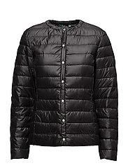 PEARL SHEEN-SYNTHETIC COAT - BLACK