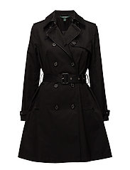 Faux-Leather Trim Trench Coat - BLACK