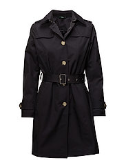 Cotton-Blend Belted Trench - DK NAVY