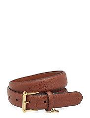 Stingray-Embossed Leather Belt - BOURBON