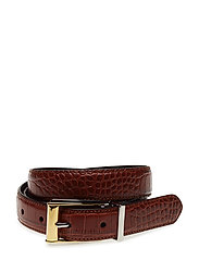 Reversible Croc-Embossed Belt - BROWN
