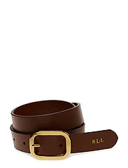 Saffiano Leather Belt - LAUREN TAN