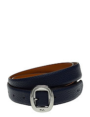 Pebbled Faux-Leather Belt - NAVY