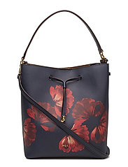 Leather Debby Drawstring Bag - NAVY FLORAL/CARAM