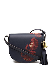 Leather Mini Caley Saddle Bag - NAVY FLORAL/CARAM