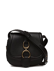 Small Leather Saddle Bag - BLACK