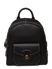 PEBBLED LEATHER-BACKPACK-BPK-MED - BLACK