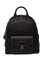 Leather Medium Backpack - BLACK