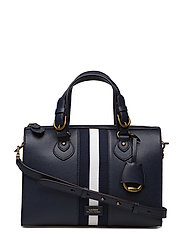 Stripe Pebbled Leather Satchel - NAVY W/ NAVY/WHT/