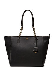 Chain-Link Leather Tote - BLACK